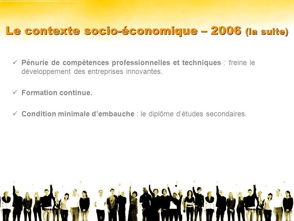 Le contexte socio-économique – 2006 (la suite) Pénurie de compétences professionnelles et techniques : freine le développement des entreprises innovantes.