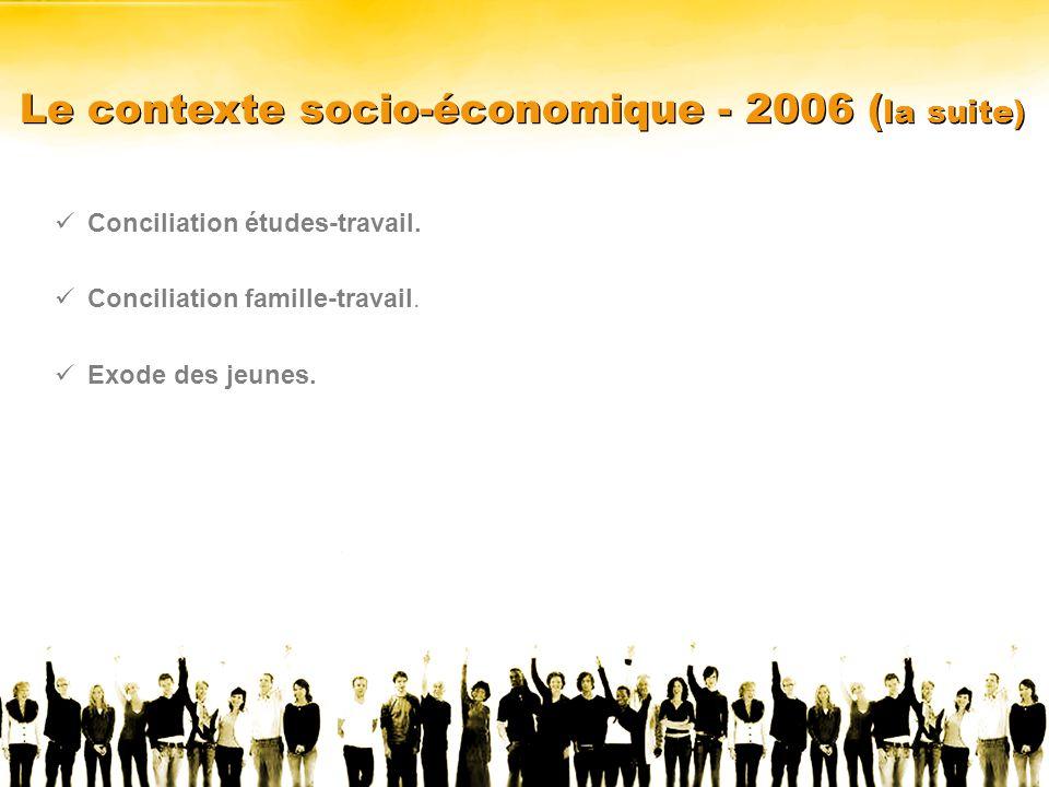 Le contexte socio-économique - 2006 ( la suite) Conciliation études-travail.