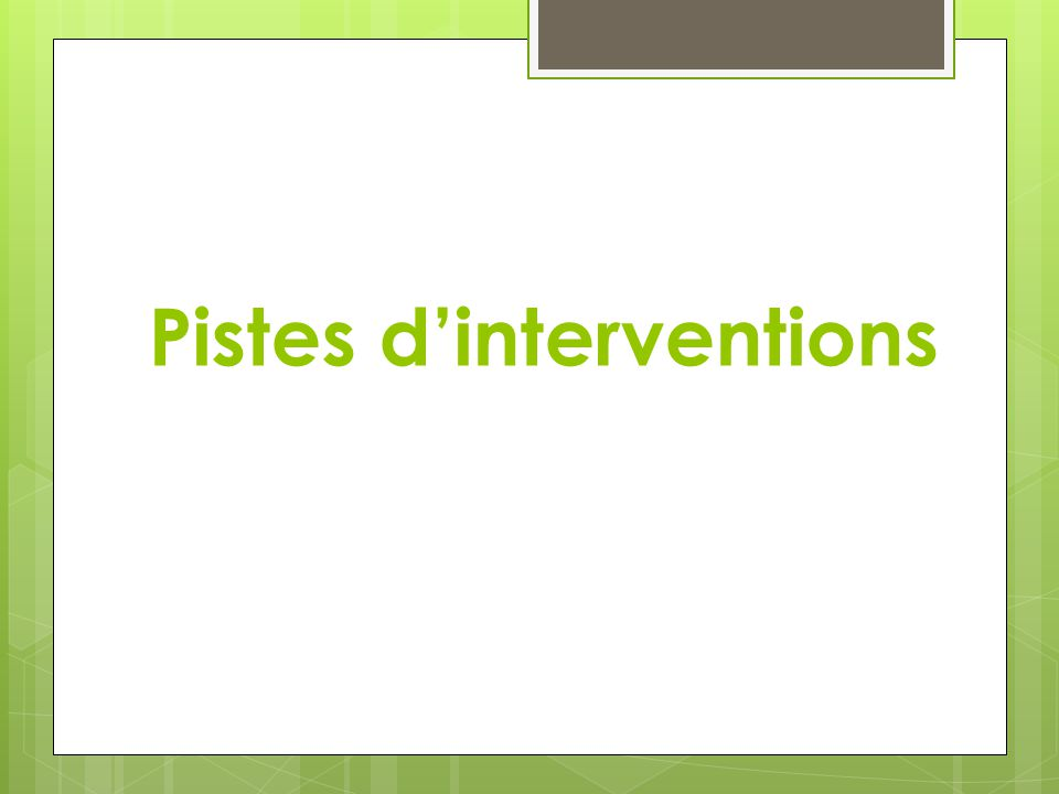 Pistes dinterventions