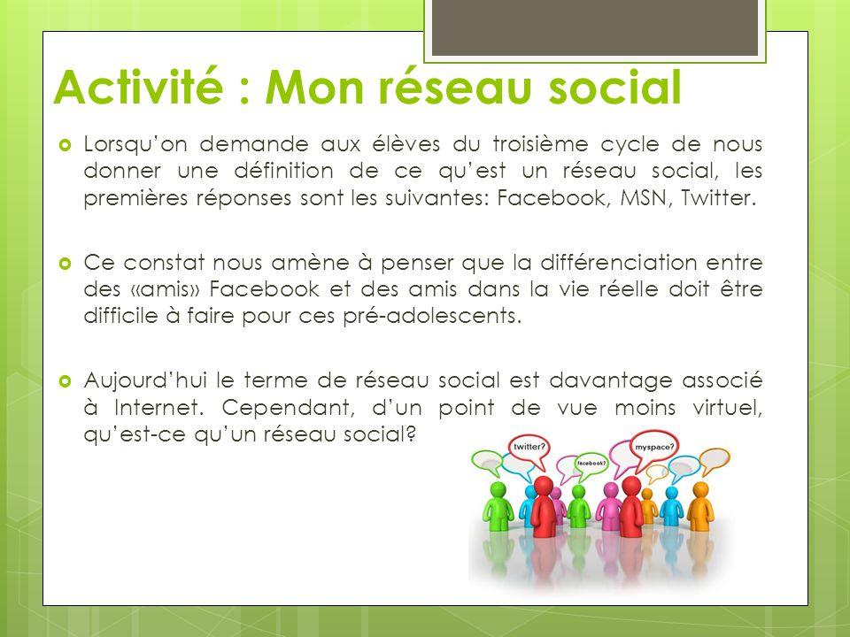 Activité : Mon réseau social Lorsquon demande aux élèves du troisième cycle de nous donner une définition de ce quest un réseau social, les premières
