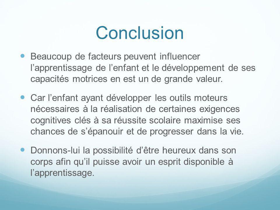Conclusion Beaucoup de facteurs peuvent influencer lapprentissage de lenfant et le développement de ses capacités motrices en est un de grande valeur.