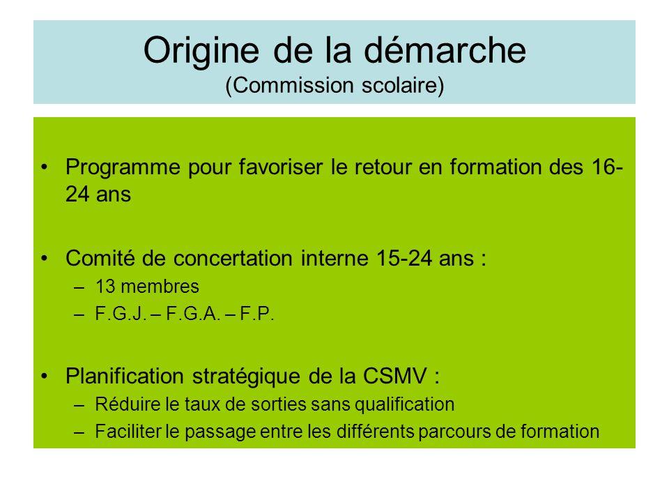 Origine de la démarche (Commission scolaire) Programme pour favoriser le retour en formation des 16- 24 ans Comité de concertation interne 15-24 ans : –13 membres –F.G.J.