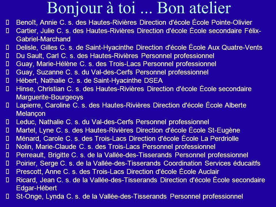 Bonjour à toi... Bon atelier Benoît, Annie C. s.