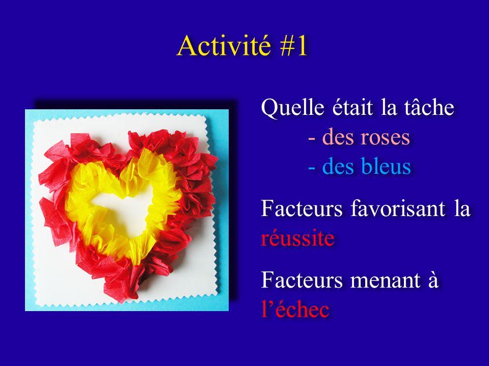 Activité #1 Quelle était la tâche - des roses - des bleus Quelle était la tâche - des roses - des bleus Facteurs favorisant la réussite Facteurs menant à léchec