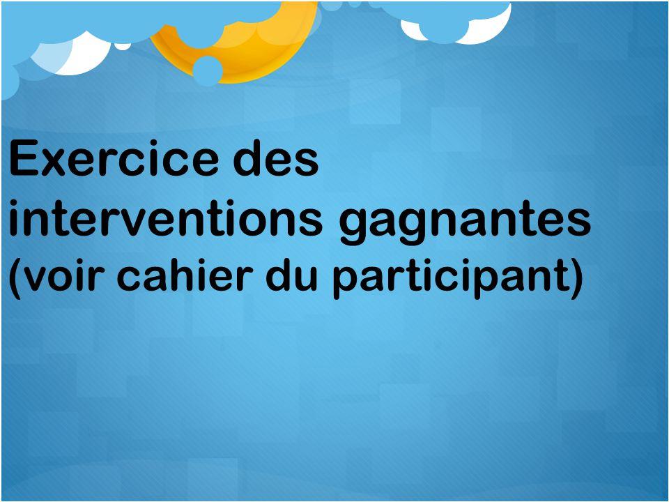 Exercice des interventions gagnantes (voir cahier du participant)