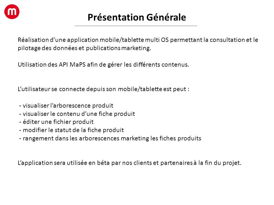 Présentation Générale Réalisation dune application mobile/tablette multi OS permettant la consultation et le pilotage des données et publications mark