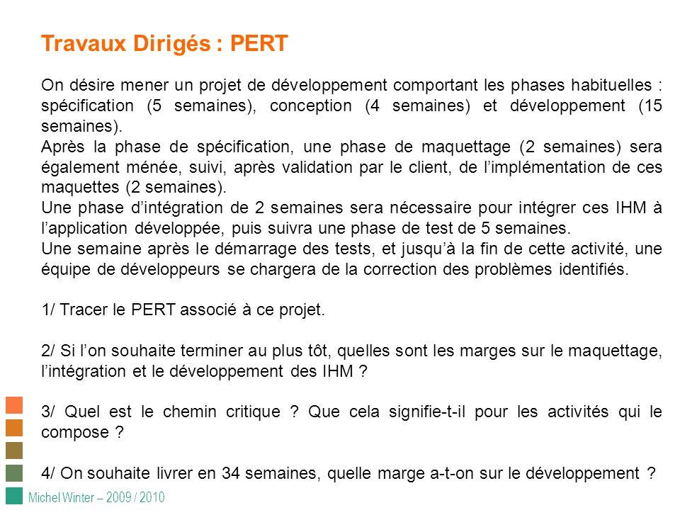 Michel Winter – 2009 / 2010 Travaux Dirigés : PERT On désire mener un projet de développement comportant les phases habituelles : spécification (5 semaines), conception (4 semaines) et développement (15 semaines).