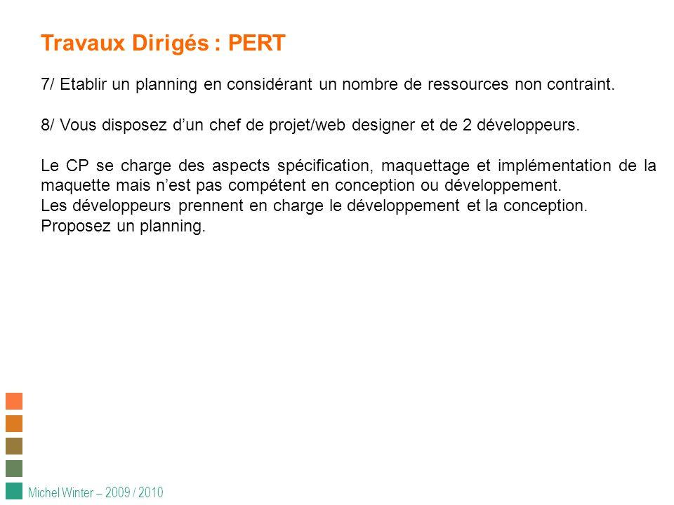 Michel Winter – 2009 / 2010 Travaux Dirigés : PERT 7/ Etablir un planning en considérant un nombre de ressources non contraint.