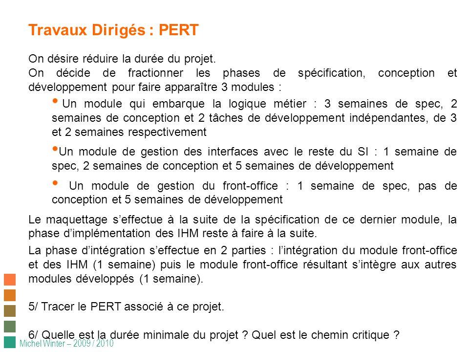 Michel Winter – 2009 / 2010 Travaux Dirigés : PERT On désire réduire la durée du projet.
