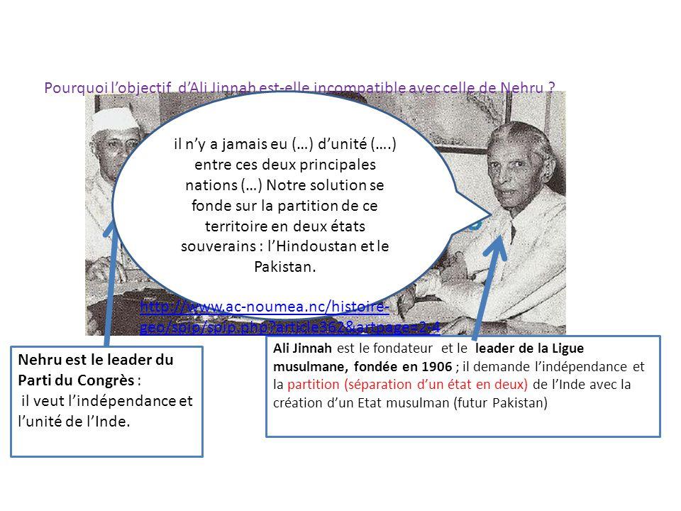 Pourquoi lobjectif dAli Jinnah est-elle incompatible avec celle de Nehru ? Nehru est le leader du Parti du Congrès : il veut lindépendance et lunité d