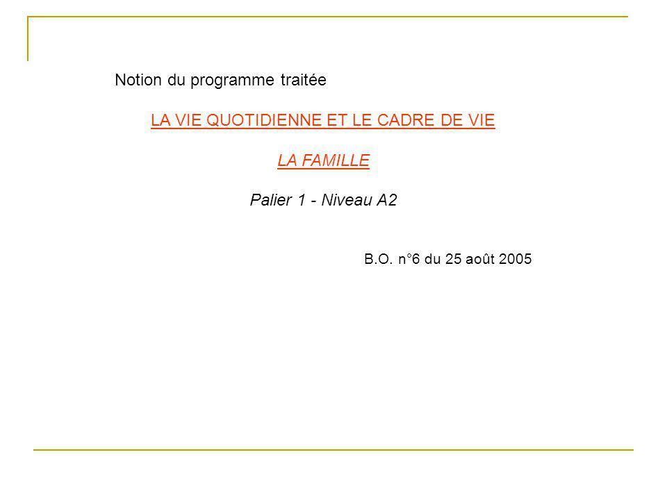 Notion du programme traitée LA VIE QUOTIDIENNE ET LE CADRE DE VIE LA FAMILLE Palier 1 - Niveau A2 B.O. n°6 du 25 août 2005