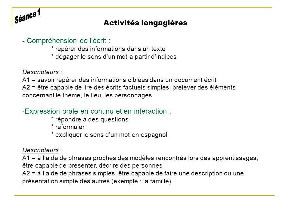 Activités langagières - Compréhension de lécrit : * repérer des informations dans un texte * dégager le sens dun mot à partir dindices Descripteurs :