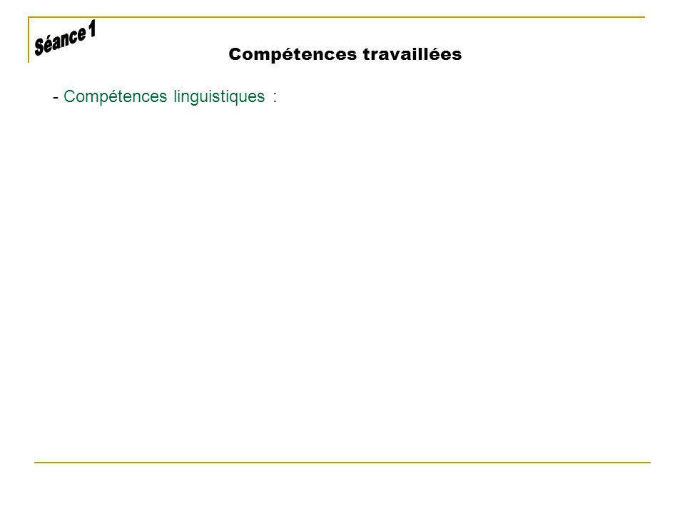 - Compétences linguistiques :