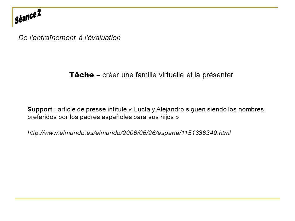 Tâche = créer une famille virtuelle et la présenter De lentraînement à lévaluation Support : article de presse intitulé « Lucía y Alejandro siguen sie