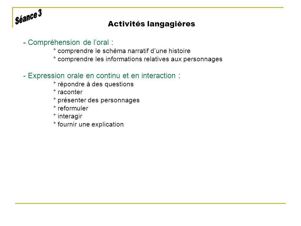 Activités langagières - Compréhension de loral : * comprendre le schéma narratif dune histoire * comprendre les informations relatives aux personnages