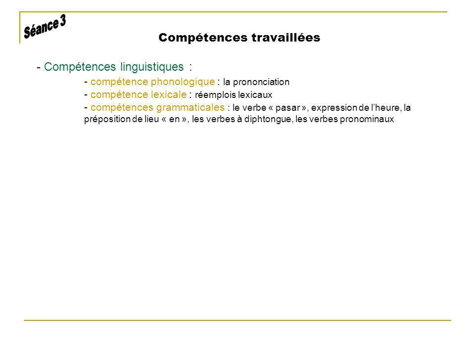 - Compétences linguistiques : - compétence phonologique : la prononciation - compétence lexicale : réemplois lexicaux - compétences grammaticales : le