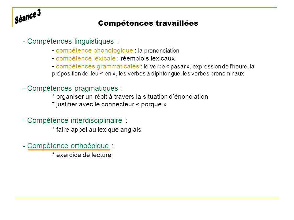 Compétences travaillées - Compétences linguistiques : - compétence phonologique : la prononciation - compétence lexicale : réemplois lexicaux - compét