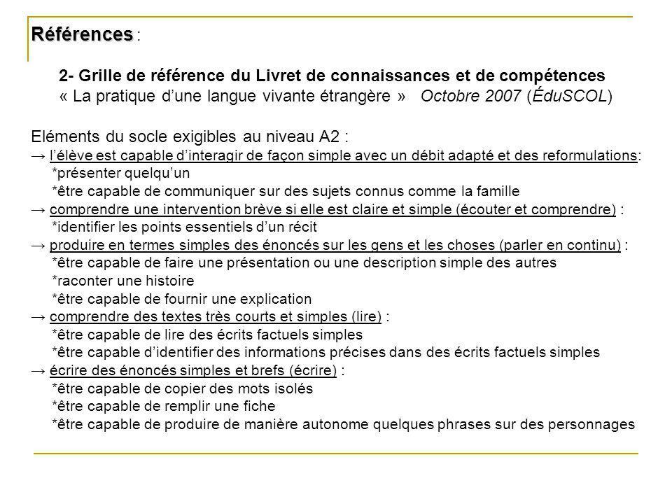 Références Références : 2- Grille de référence du Livret de connaissances et de compétences « La pratique dune langue vivante étrangère » Octobre 2007