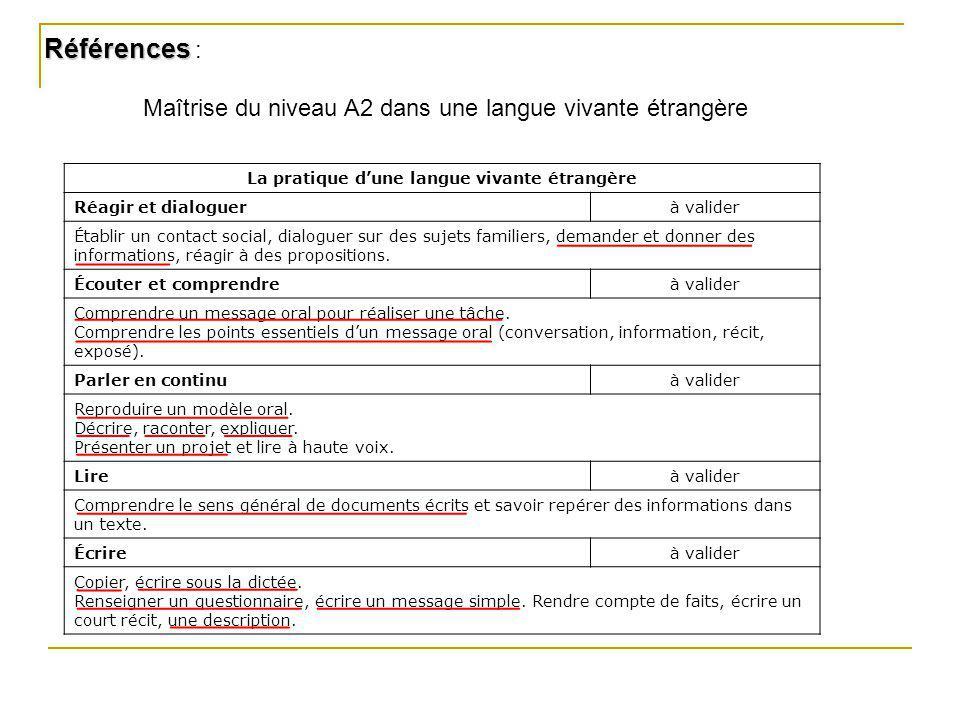 La pratique dune langue vivante étrangère Réagir et dialoguerà valider Établir un contact social, dialoguer sur des sujets familiers, demander et donn