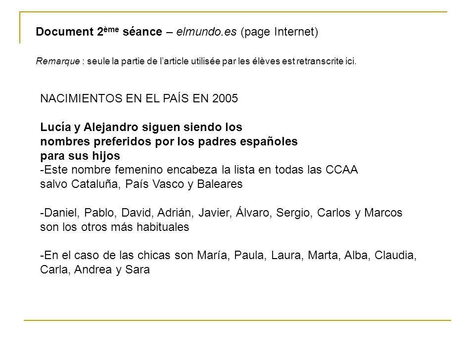 Document 2 ème séance – elmundo.es (page Internet) Remarque : seule la partie de larticle utilisée par les élèves est retranscrite ici. NACIMIENTOS EN