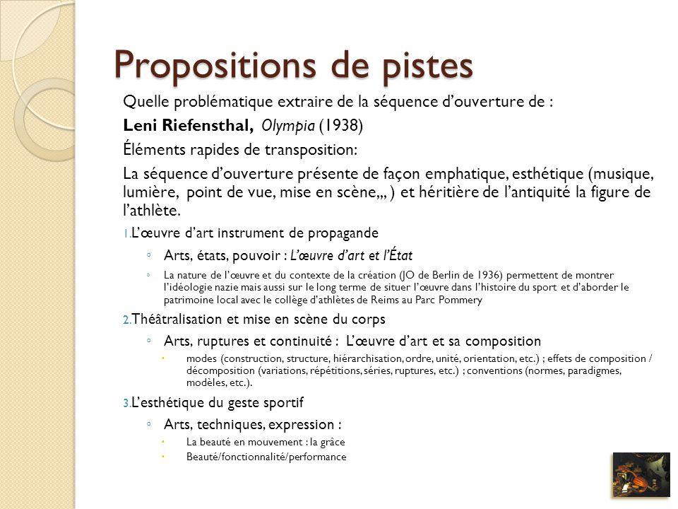Propositions de pistes Quelle problématique extraire de la séquence douverture de : Leni Riefensthal, Olympia (1938) Éléments rapides de transposition