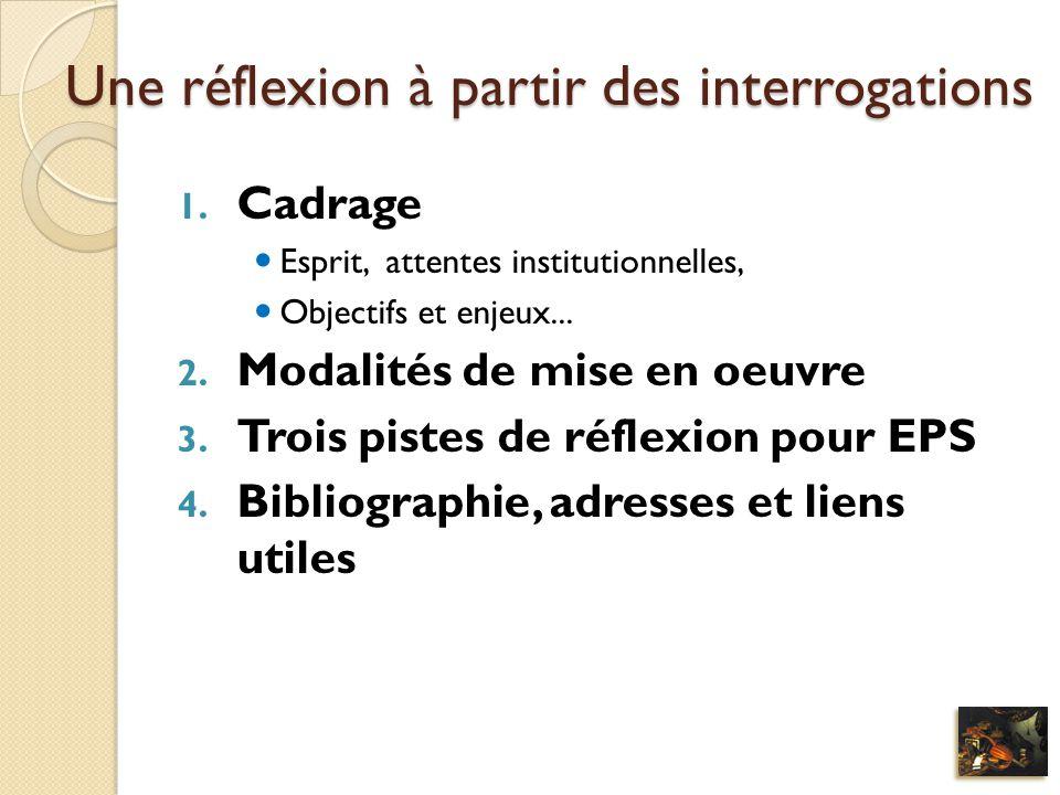 Une réflexion à partir des interrogations 1. Cadrage Esprit, attentes institutionnelles, Objectifs et enjeux... 2. Modalités de mise en oeuvre 3. Troi