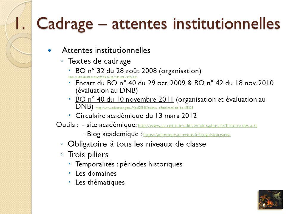 1.Cadrage – attentes institutionnelles Attentes institutionnelles Textes de cadrage BO n° 32 du 28 août 2008 (organisation) http://media.education.gou