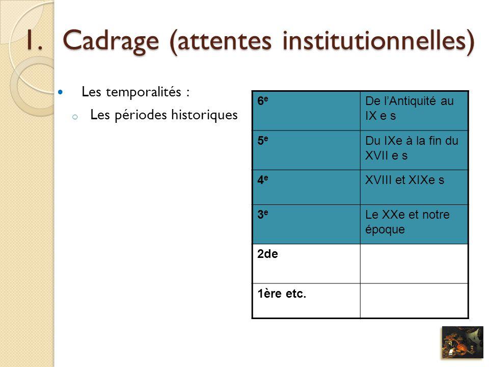 1.Cadrage (attentes institutionnelles) Les temporalités : o Les périodes historiques 6e6e De lAntiquité au IX e s 5e5e Du IXe à la fin du XVII e s 4e4