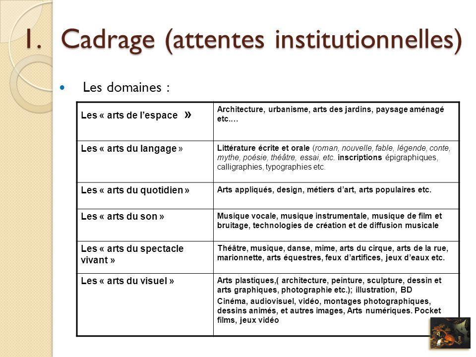 1.Cadrage (attentes institutionnelles) Les domaines : Les « arts de lespace » Architecture, urbanisme, arts des jardins, paysage aménagé etc.… Les « a