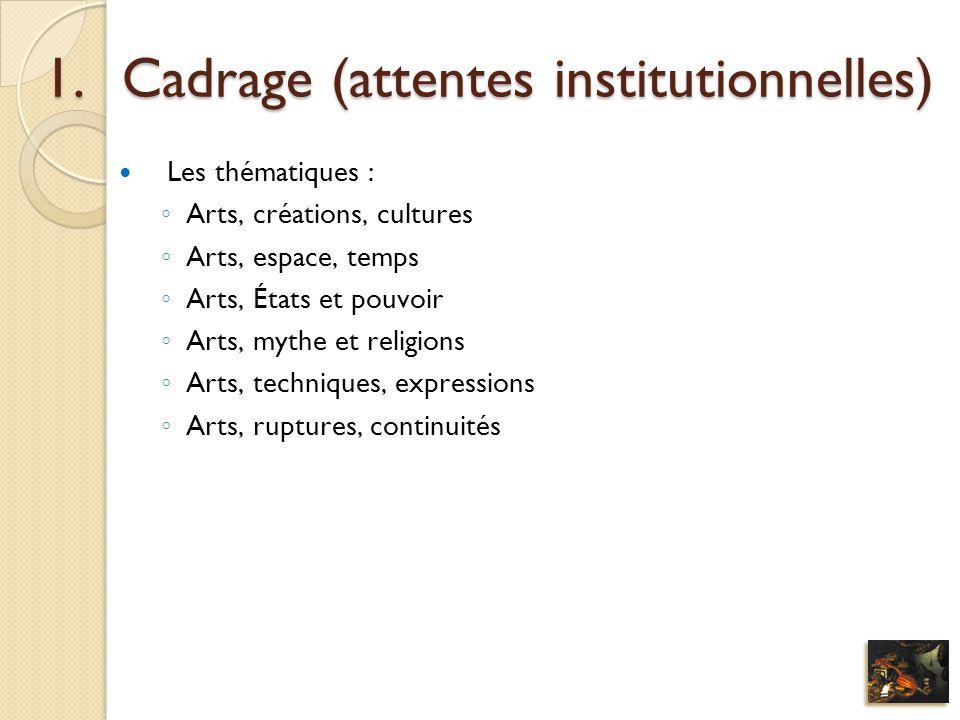 1.Cadrage (attentes institutionnelles) Les thématiques : Arts, créations, cultures Arts, espace, temps Arts, États et pouvoir Arts, mythe et religions