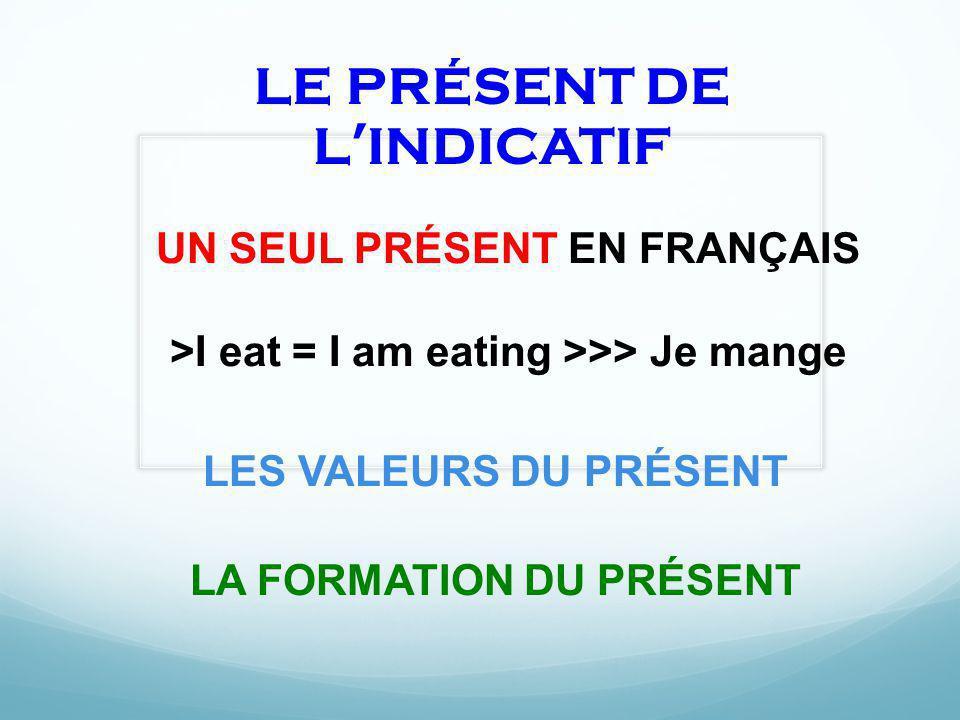 LE PRÉSENT DE LINDICATIF LES VALEURS DU PRÉSENT LA FORMATION DU PRÉSENT UN SEUL PRÉSENT EN FRANÇAIS >I eat = I am eating >>> Je mange