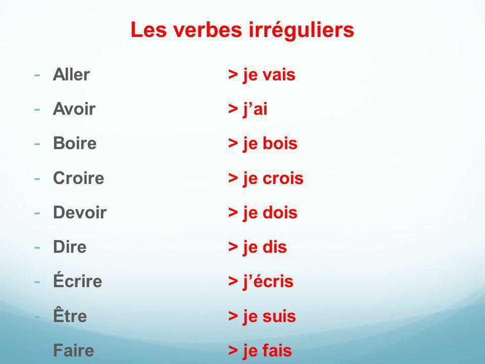 Les verbes irréguliers - Aller> je vais - Avoir> jai - Boire> je bois - Croire> je crois - Devoir> je dois - Dire> je dis - Écrire> jécris - Être> je suis - Faire> je fais