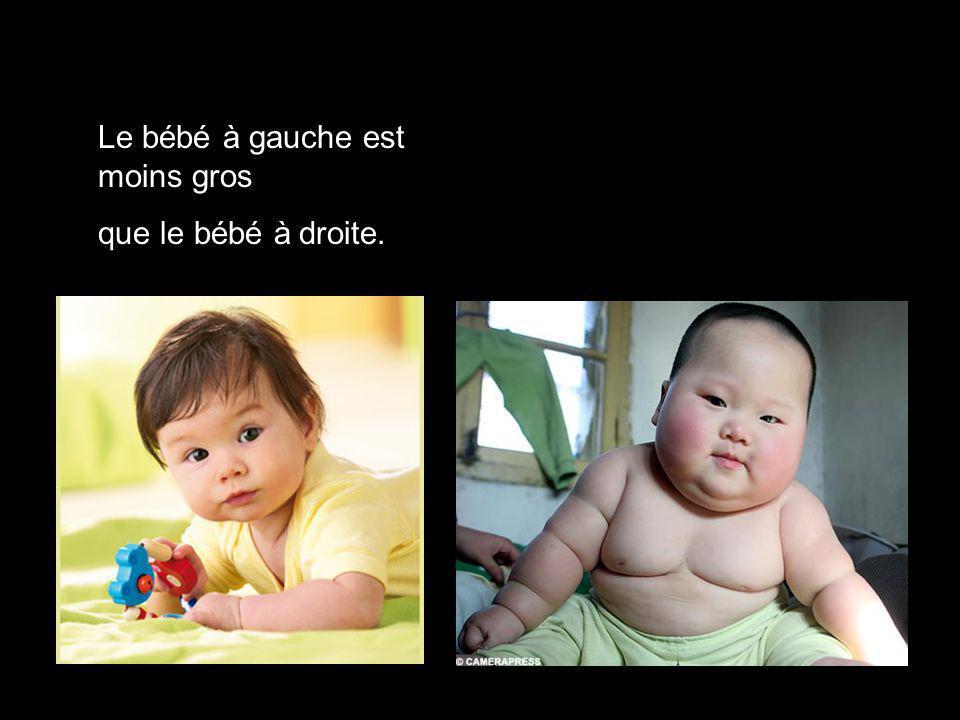 Le bébé à gauche est moins gros que le bébé à droite.
