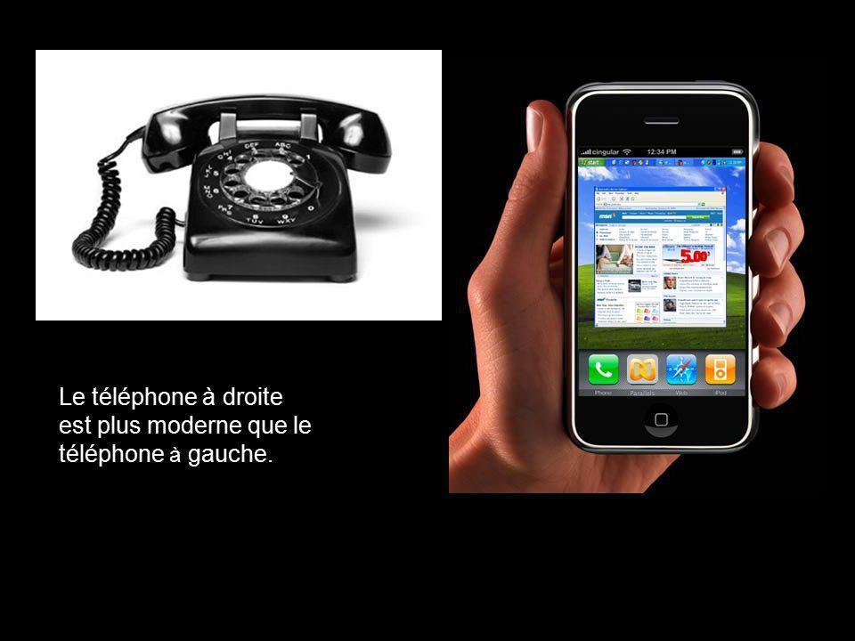 Le téléphone à droite est plus moderne que le téléphone à gauche.