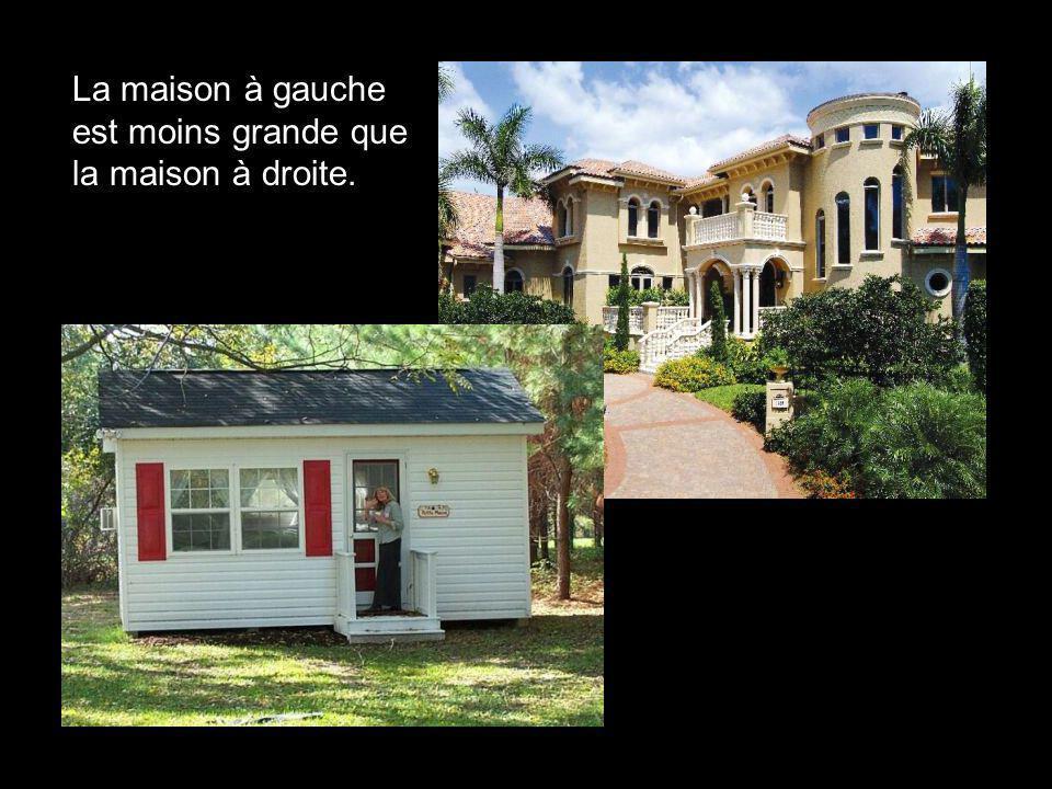La maison à gauche est moins grande que la maison à droite.