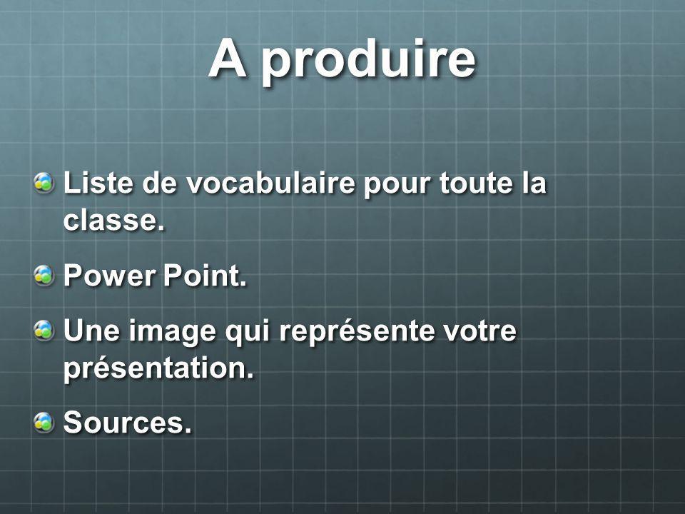 A produire Liste de vocabulaire pour toute la classe. Power Point. Une image qui représente votre présentation. Sources.