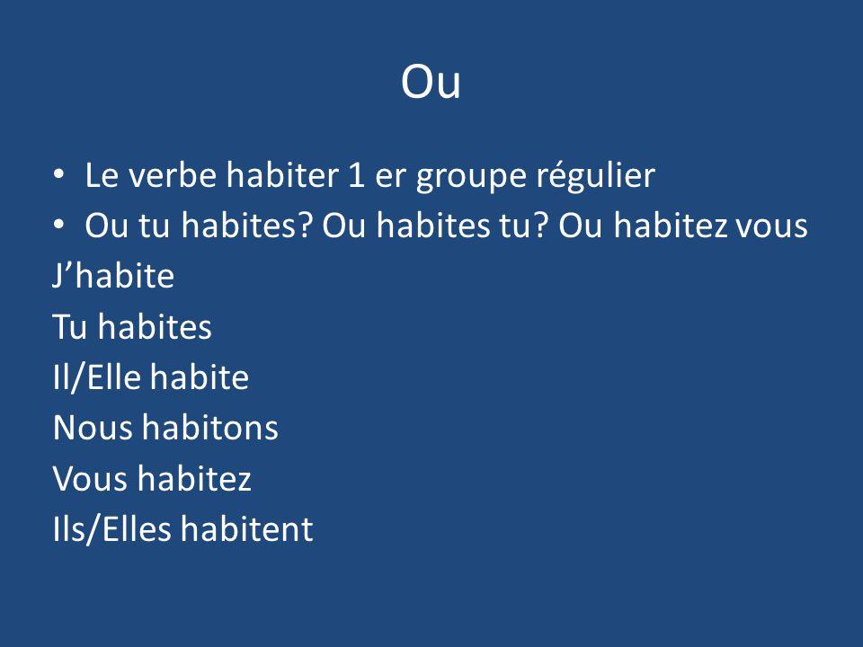 Ou Le verbe habiter 1 er groupe régulier Ou tu habites? Ou habites tu? Ou habitez vous Jhabite Tu habites Il/Elle habite Nous habitons Vous habitez Il