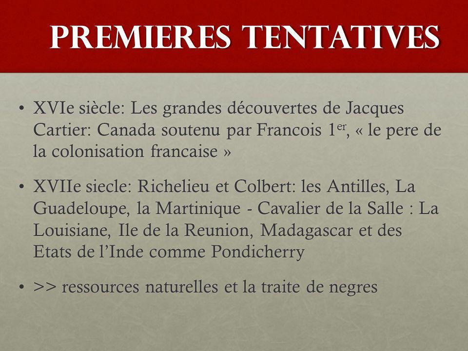 premieres tentatives XVIe siècle: Les grandes découvertes de Jacques Cartier: Canada soutenu par Francois 1 er, « le pere de la colonisation francaise