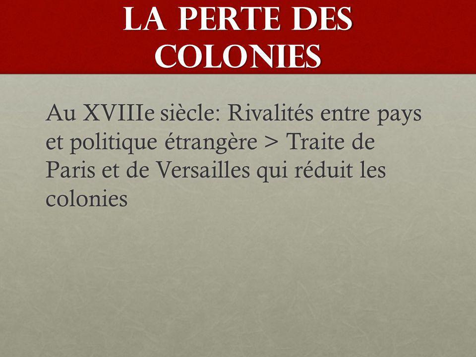 LA PERTE DES COLONIES Au XVIIIe siècle: Rivalités entre pays et politique étrangère > Traite de Paris et de Versailles qui réduit les colonies