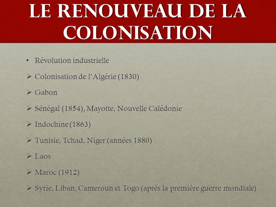 LE RENOUVEAU DE LA COLONISATION Révolution industrielleRévolution industrielle Colonisation de lAlgérie (1830) Colonisation de lAlgérie (1830) Gabon G