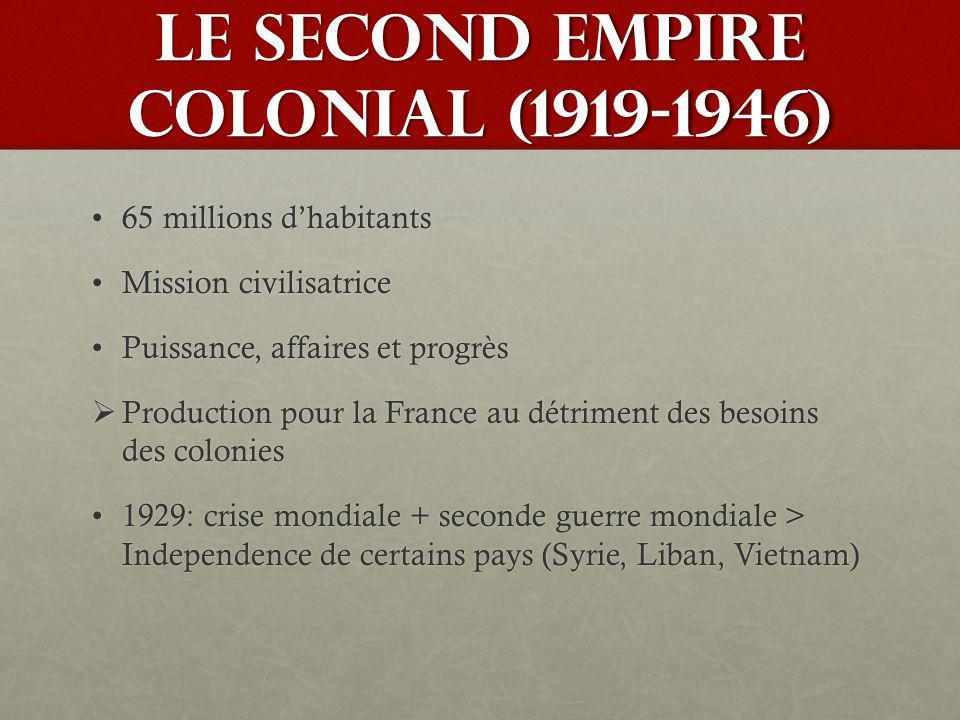 LE SECOND EMPIRE COLONIAL (1919-1946) 65 millions dhabitants65 millions dhabitants Mission civilisatriceMission civilisatrice Puissance, affaires et p