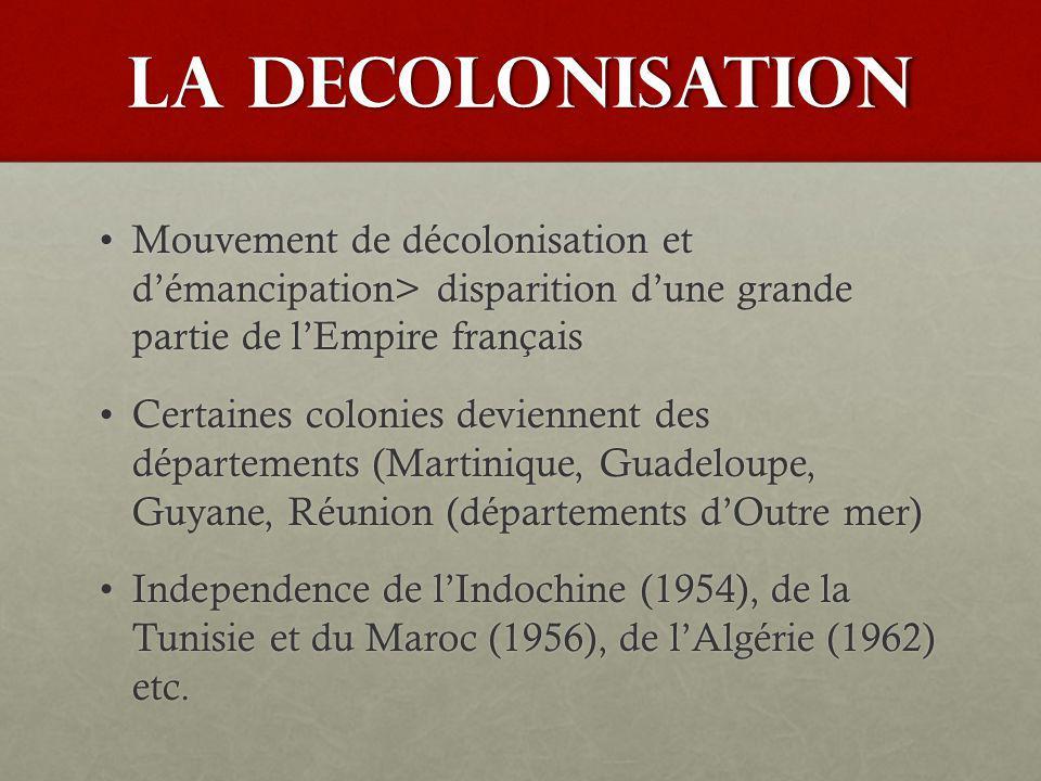 LA DECOLONISATION Mouvement de décolonisation et démancipation> disparition dune grande partie de lEmpire françaisMouvement de décolonisation et déman