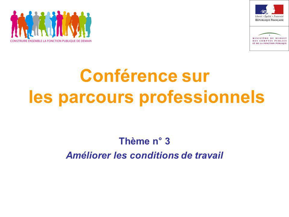 Conférence sur les parcours professionnels Thème n° 3 Améliorer les conditions de travail