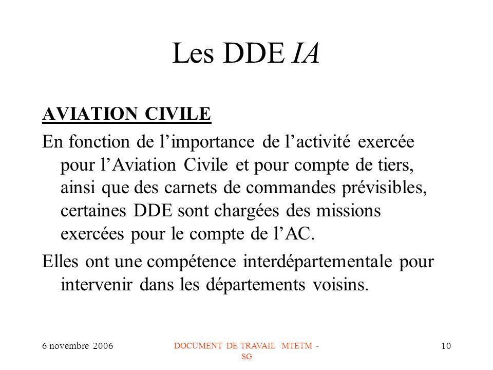 6 novembre 2006 DOCUMENT DE TRAVAIL MTETM - SG 10 Les DDE IA AVIATION CIVILE En fonction de limportance de lactivité exercée pour lAviation Civile et pour compte de tiers, ainsi que des carnets de commandes prévisibles, certaines DDE sont chargées des missions exercées pour le compte de lAC.
