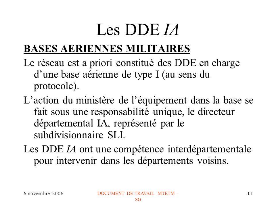 6 novembre 2006 DOCUMENT DE TRAVAIL MTETM - SG 11 Les DDE IA BASES AERIENNES MILITAIRES Le réseau est a priori constitué des DDE en charge dune base aérienne de type I (au sens du protocole).