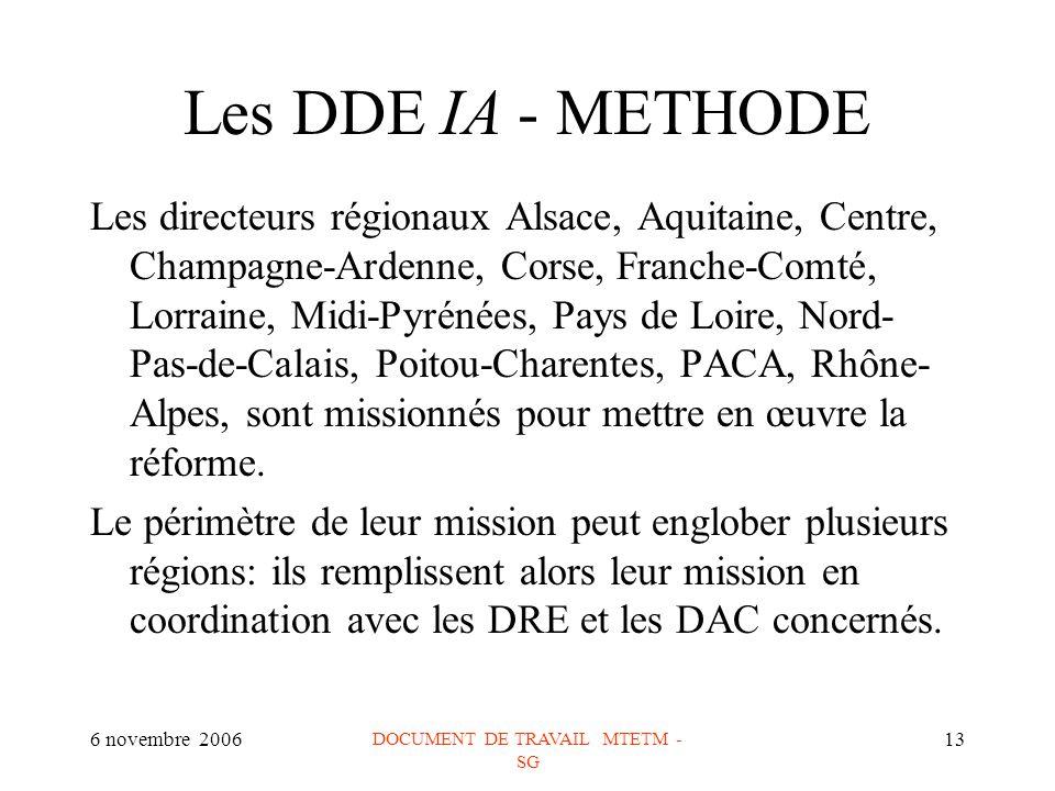 6 novembre 2006 DOCUMENT DE TRAVAIL MTETM - SG 13 Les DDE IA - METHODE Les directeurs régionaux Alsace, Aquitaine, Centre, Champagne-Ardenne, Corse, Franche-Comté, Lorraine, Midi-Pyrénées, Pays de Loire, Nord- Pas-de-Calais, Poitou-Charentes, PACA, Rhône- Alpes, sont missionnés pour mettre en œuvre la réforme.