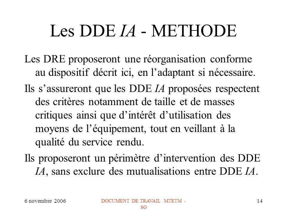 6 novembre 2006 DOCUMENT DE TRAVAIL MTETM - SG 14 Les DDE IA - METHODE Les DRE proposeront une réorganisation conforme au dispositif décrit ici, en ladaptant si nécessaire.