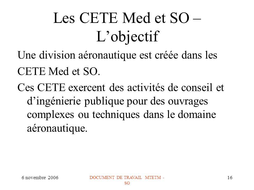 6 novembre 2006 DOCUMENT DE TRAVAIL MTETM - SG 16 Les CETE Med et SO – Lobjectif Une division aéronautique est créée dans les CETE Med et SO.