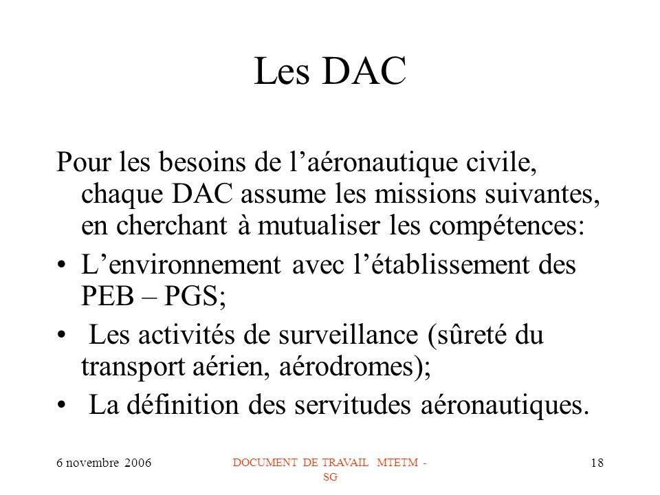 6 novembre 2006 DOCUMENT DE TRAVAIL MTETM - SG 18 Les DAC Pour les besoins de laéronautique civile, chaque DAC assume les missions suivantes, en cherchant à mutualiser les compétences: Lenvironnement avec létablissement des PEB – PGS; Les activités de surveillance (sûreté du transport aérien, aérodromes); La définition des servitudes aéronautiques.