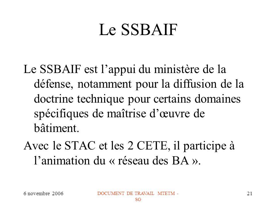 6 novembre 2006 DOCUMENT DE TRAVAIL MTETM - SG 21 Le SSBAIF Le SSBAIF est lappui du ministère de la défense, notamment pour la diffusion de la doctrine technique pour certains domaines spécifiques de maîtrise dœuvre de bâtiment.